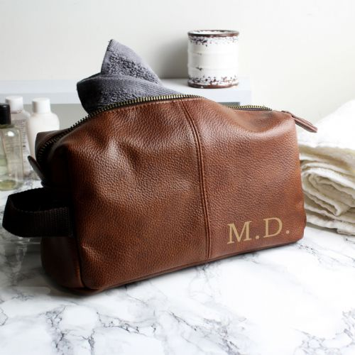 Personalised Luxury Initials Brown Leather Wash Bag